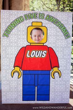 Boys Lego Themed Birthday Party Photo Booth Ideas