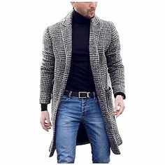 Trench Coat Homme, Winter Trench Coat, Mens Winter Coat, Warm Coat, Mens Overcoat, Long Wool Coat, Plaid Coat, Slim Fit, Vintage Men