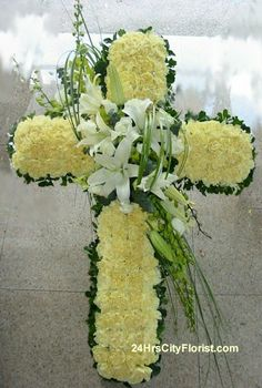 Shaped foam-cross-live or permanent flowers Funeral Floral Arrangements, Flower Arrangements, Cemetary Decorations, Funeral Sprays, Shabby Chic Wreath, Funeral Tributes, Memorial Flowers, Cemetery Flowers, Funeral Memorial