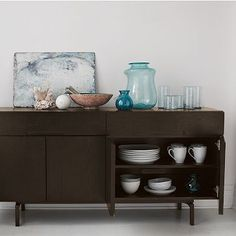 Floating Storage Console #WestElm. Won't distract from the table.