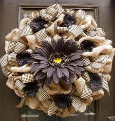 Fall Burlap Wreath Black Daisy Door XXL Floral Country Rustic Chic Plaid Luxe | eBay