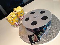 Movie reel with popcorn cupcakes