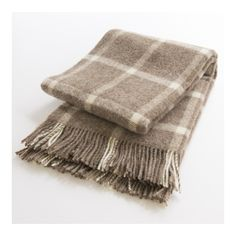 Plaid laine naturelle 130x200 fond beige carreaux 8dcc0e67227