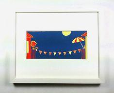 Shops, Linocut Prints, Paper Size, Flourish, Red And Blue, Colours, Etsy Shop, Cool Stuff, Frame