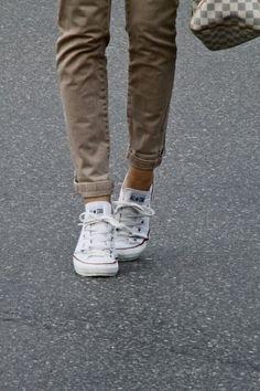 Khakis and white Chucks