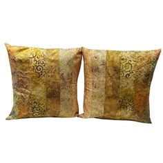 16 inch Pillow Sham Cover in Tan and Brown Batik Fabrics by Sieberdesigns on Etsy