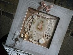 Frame Art, Shabby Chic Frame, Mixed Media Frame, Cottage Decor, Vintage Religious Card, Doilees, Buttons, Ribbon and Rosary, Wall Hanging