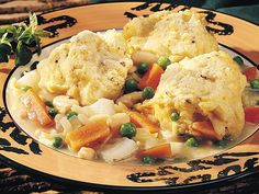Vegetable Stew with Herb Dumplings - 6 pt.  I sub frozen mixed veggies for the peas, potatoes, carrots mixture.  Don't need potatoes with dumplings.  Good and filling comfort food!
