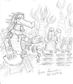 Sketch under an umbrella on the beach with the pen sketch of an inhabitant of the planet Inb, Sobeket cities A farmer and his strange plants ^_^ ----------------------- Schizzo sotto l'ombrellone, sulla spiaggia con la penna schizzo di un abitante del pianeta Inb, città Sobeket Un agricoltore e le sue strane piante. ^_^