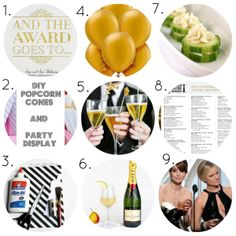 Golden Globes Party, DIY, Get-Together, Parties, Theme, The Golden Globe Awards, Awards Season, Tutorials, Decor, Appetizers, Drinks, Games