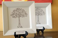 Family Tree Platters--Bride and Groom Gifts for Parents and In-Laws Set of 2. $125.00, via Etsy.