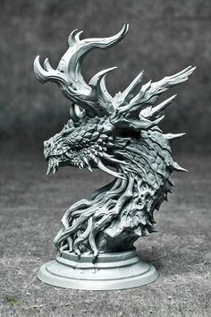 Forest Dragon bust grey resin kit
