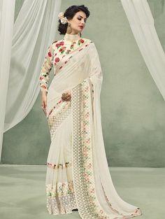Price INR Colour : White Saree Fabric : Georgette Blouse Fabric : Fancy Blouse Work : Printed With Attached Border Latest Indian Saree, Indian Sarees, Off White Saree, Pure Georgette Sarees, Net Blouses, Casual Saree, Half Saree, Party Wear Sarees, Beautiful Saree