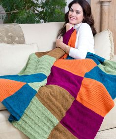 Sampler Block Throw Free Knitting Pattern from Red Heart Yarns