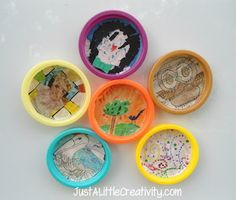 Play-doh Lids Become Mini Magnet Masterpieces {Fun for Kids}