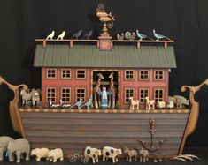 woodworking - Heirloom Ark, Hand Carved Wooden Noah's Ark, Wooden Noahs Ark, Noahs Ark Animals, Wood Noah's Ark Carved Wooden Animals, Toy Display, Etsy Crafts, Old Toys, Vintage Wood, Folk Art, Hand Carved, Things To Come, Noah Ark