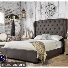 Shop for Furniture of America Draviosa Button-tufted Padded Flax Wingback Platform Bed. Get free shipping at Overstock.com - Your Online Furniture Outlet Store! Get 5% in rewards with Club O!