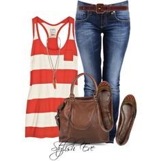 """Racerback Cotton Tank with Woven Leather and Raffia Ballet Flats"" by stylisheve on Polyvore"