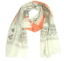 Trendy sjaal met prachtige print in beige-taup-oranje € 11,95 http://blingdings.nl/trendy-sjaal-met-prachtige-print-in-beige-taup-oranje/