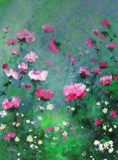 Roses 01 - Peinture,  46x61 cm ©2012 par Coq rouge -                            Art figuratif, Tableau de roses rouges sur fond vert Floral Photography, Beginner Painting, Abstract Flowers, Whimsical Art, Pretty Art, Painting Inspiration, Flower Art, Painting Prints, Watercolor Paintings
