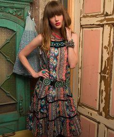 Aztec dress. Im in love! Perfect bangs~