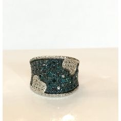 Blue Diamond Ring Art Deco Sterling Silver Genuine Diamond Wide Band... ($379) ❤ liked on Polyvore featuring jewelry and rings