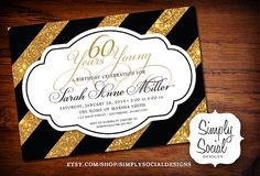 50th Birthday Party Invitation Years Young 30 40 50 60 70 Gold Glitter and Black Stripes Printable Gender Neutral Golden Birthday