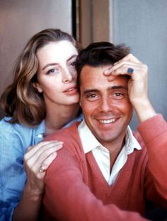 CAPUCINE AND DIRK BOGARDE. PRETTY IN PASTELS.  THE HOKEY POKEY MAN AND AN INSANE HAWKER OF FISH BY CONNIE DURAND, AVAILABLE ON AMAZON KINDLE.