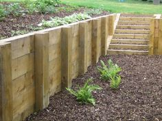 timber retaining wall post distance - Google Search