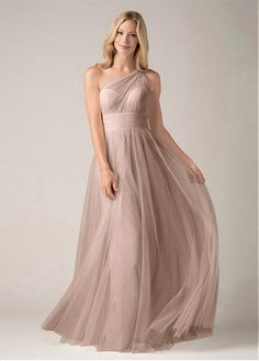 Chic Tulle One Shoulder Neckline Floor-length A-line Bridesmaid Dress Flowy Bridesmaid  Dresses 0f1ee57dba8f