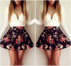 Gorgeous V Neck Floral Print Mini Dress