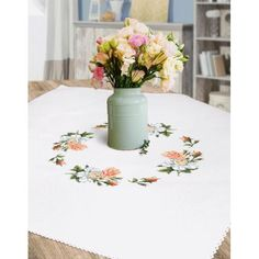 Cross stitch Cross stitch kit - Tablecloth with roses Cross Stitch Patterns, Table Decorations, Stitch Kit, Roses, Wood, Seed Stitch, Pink, Rose, Counted Cross Stitch Patterns