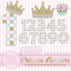 #Lettering #fonts #princess #princessbirthday #numbers #crown #corona #glitter #clipart #invitations #inviti #invitaciones http://etsy.me/1xYX61z  vía @Etsy