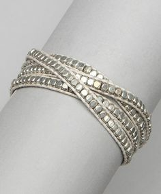 This White & Silver Beaded Wrap Bracelet is perfect! #zulilyfinds