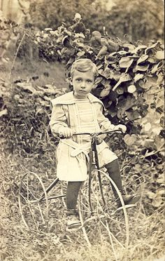 VELOCIPEDE~Little Boy on INCREDIBLE ANTIQUE TRICYCLE Photo by NiepceGallery