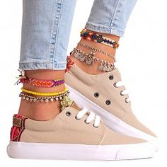 Our top picks for boho ankle bracelets were put together in hopes to fulfill virtually any person's taste in accessories and jewelry. Ankle Jewelry, Ankle Bracelets, Colorful Sneakers, High Top Sneakers, Cute Gifts For Her, Estilo Hippy, Zapatos Shoes, Diy Accessoires, Look Boho