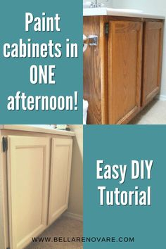 I've been wanting to upgrade these builders grade bathroom cabinets but don't want to spend an arm and a leg on a replacement. So here's how you can get an updated look on a budget. Not only is this project painting your bathroom cabinets easy but it will only take up a day of your time. #bellarenovare #howtopaintcabinets How to Paint Bathroom Vanity Update Builders Grade Cabinets Easy Step-by-step Tutorial How to Paint Bathroom Cabinets Beginners Guide Quick and Easy DIY Painted Cabinets Diy Home Furniture, Eclectic Furniture, Diy Furniture Projects, Colorful Furniture, Furniture Makeover, Painting Bathroom Cabinets, Paint Bathroom, Paint Cabinets White, Diy Cabinets