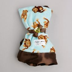 Aqua Monkey Lovey Blanket