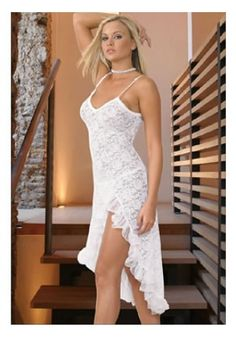 Sexy Stretch Lace Long Gown with ruffle details on the slit. Comes with matching G-string. Available in White & Black.
