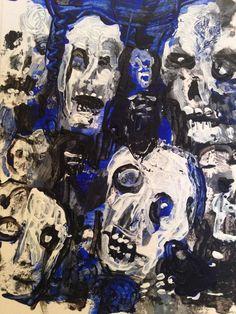 "#zombieart , abstract, Acrylic original  ,ACEO  jack larson 3.5""x2.5""  #Abstract"