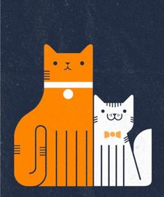 ginger and  white cats illustration.  By: Richard Perez. #CatIllustration