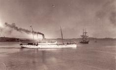 """Steamer """"Lysekil"""", Lysekil, Sweden  Steamer """"Lysekil"""" and sailing ship. 1880s"""