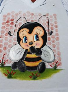 Frosch Illustration, Bee Images, Diy And Crafts, Arts And Crafts, Bee Party, Cute Bee, Country Paintings, Kids Cards, Fabric Painting