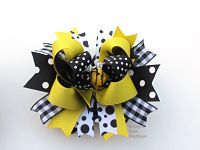 Bee Hair Bow www.beckysbowboutique.com Little Diva, Boutique Hair Bows, Girl Hair Bows, Layered Hair, Girl Hairstyles, Minnie Mouse, Bee, Layers, Vanity