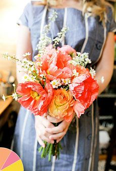 Summer Wedding Colors: Pink, Peach, Yellow - Bouquet of poppies, ranunculuses, and chamomile