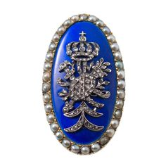1850s french 9k gold with blue guiloche enamel, rose cut diamonds and pearls royal ring
