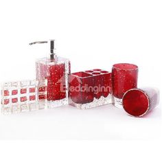 High Quality Polyester Resin Five Pieces Bathroom Accessories
