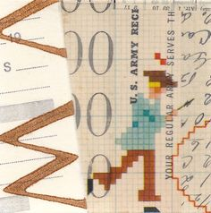 Collage: Old cross stitch pattern on tracing paper over collaged vintage ephemera, approx. 3 x 3 inches