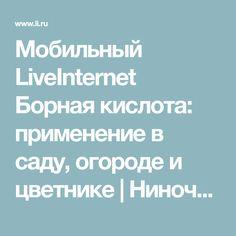 Мобильный LiveInternet Борная кислота: применение в саду, огороде и цветнике | Ниноччка - Обо всём, что заинтересовало... |