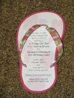 Cute and easy flip flop invitations for beach themed party